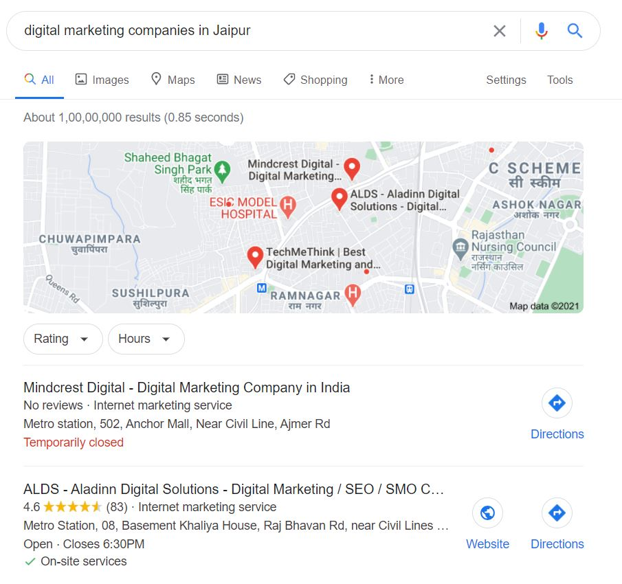 Google Map Search Result