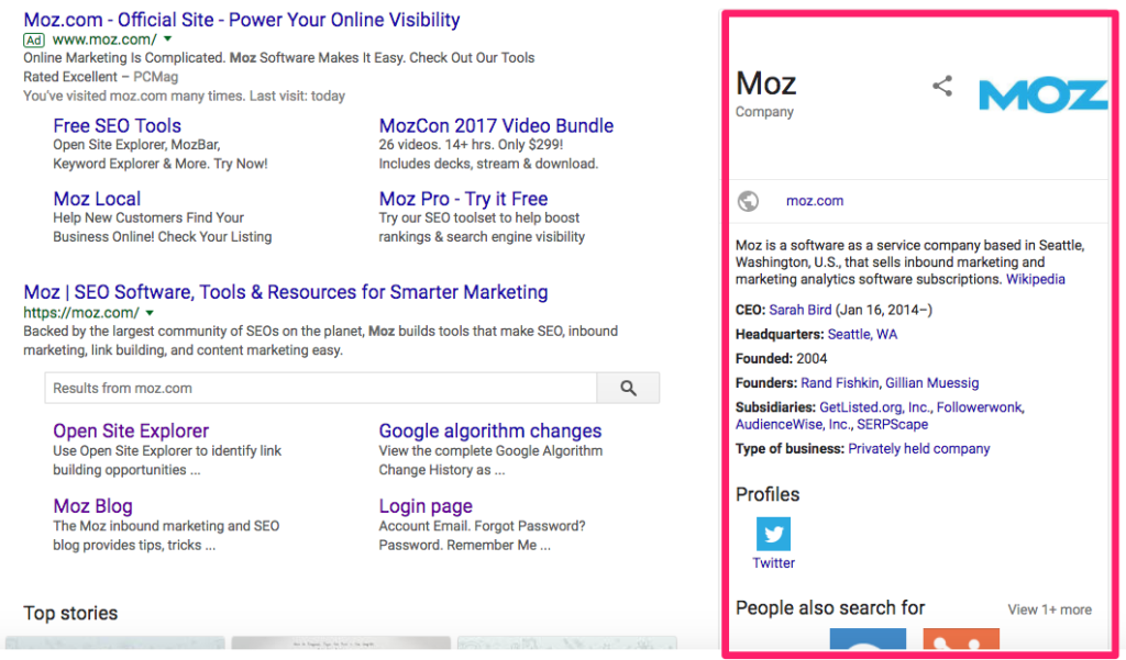 Google's knowledge graph box Moz result