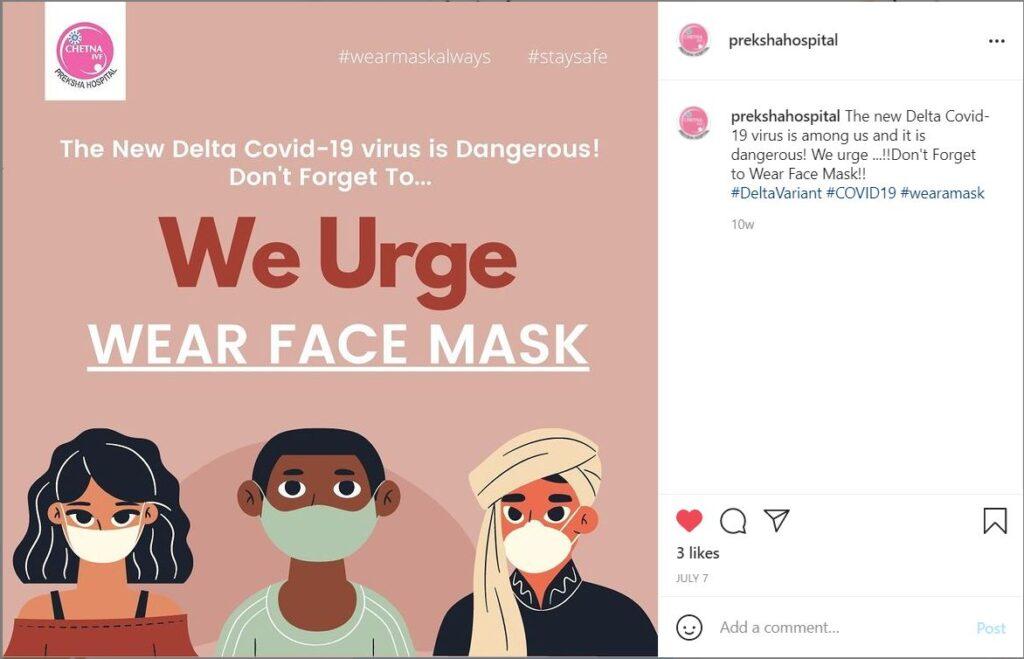 Covid Information post shared by Preksha Hospital on Instagram